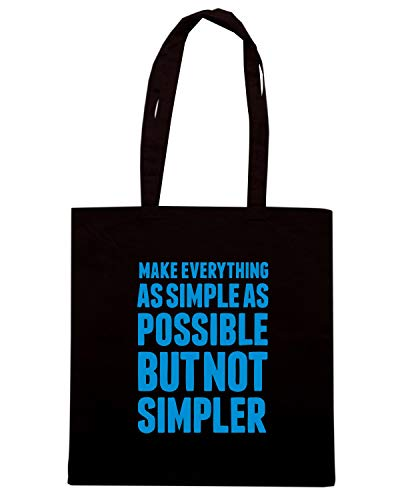 Borsa Shopper Nera CIT0161 MAKE EVERYTHING AS SIMPLE AS POSSIBLE BUT NOT SIMPLER