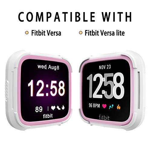 - Landhoo Fitbit Versa Screen Protector Versa Lite Case, Shock Proof Bumper Cover Scratch Resistant Protective Rugged Case Replacement for Fitbit Versa & Versa Lite Smart Watch (White/Pink)