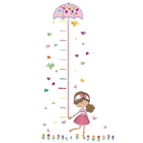 - DNVEN 30 inches x 57 inches Little Girl Cute Children Grows up Height Measurement Growth Chart Measures with Quote Wall Stickers Decals for Kids Room