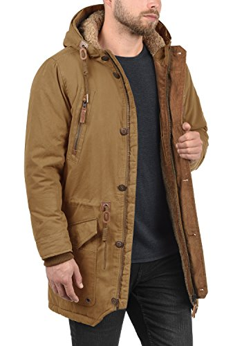 Canela de Solid largo oveja Dump 5056 de piel Abrigo capucha de con chaqueta hombre invierno Parka qxaET6xS