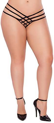 Seven Til Midnight Women's Plus-Size Queen Size Strap Me In Thong, Black, One Size