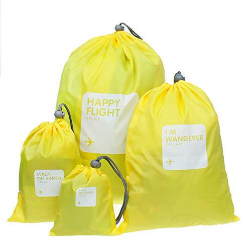 BINGONE Nylon 4-in-1 Drawstring Bags / Ditty Bag / Cord Bag Home Storage Travel Use 4 Different Size,Yellow2