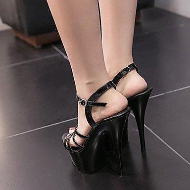 LvYuan Tacón Stiletto-Zapatos del club-Sandalias-Vestido-PU-Negro Blanco White