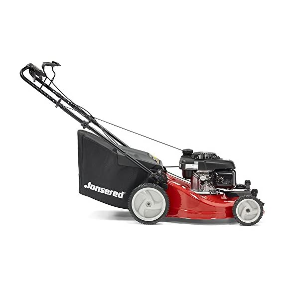 Jonsered L2821, 21 in. 160cc GCV160 Honda 3-in-1 Walk Behind Front-Wheel-Drive Mower 7 Powered by 160cc Honda GCV160 engine with 6.9 ft-lbs Gross torque Dual trigger control system allows you to operate with either hand, or split the effort between both. High-tunnel cutting deck design delivers premium cut quality and bagging performance while providing a close trim, every time.