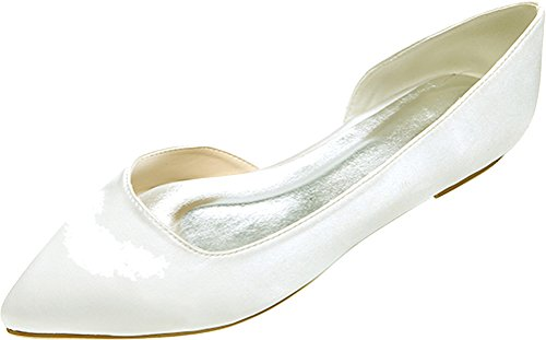 Salabobo 2046-08 Ladies Simple D-orsay Fashion Bride Bridesmaid Party Prom Wedding Dress Work Pointed Toe Comfort Flats Satin Pumps Ivory gIYIYvpo