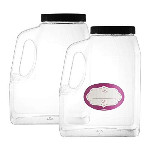 2 Pack - Clear Square Plastic Empty Storage Containers - Jars w/Plastic Airtight Lids - Empty Jugs with Handles - Wide Mouth Easy Clean - Great For Commercial & Industrial - Containers 96 Oz