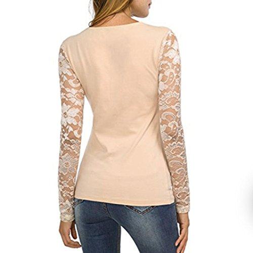 HOT SALE, AIMTOPPY Womens Solid Long Sleeve Lace Stitching V-Neck T-Shirt Pullover Tops Blouse at Amazon Womens Clothing store: