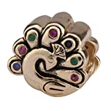 Beautiful Gold Peacock Sterling Silver Charm Bead Swarovski Crystal for European Charm Bracelets #EC488