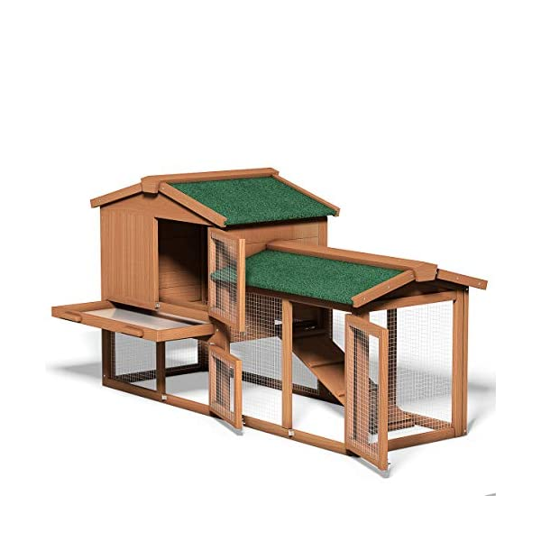 Tangkula Chicken Coop, Wooden Large Outdoor Poultry Cage (Such as Bunny/Rabbit/Hen) with Ventilation Door and Removable Tray & Ramp, 58'' Chicken Rabbit Hutch 2