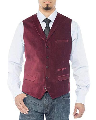 RONGKIM Men's Shawl Lapel Casual Velvet Vest Modern