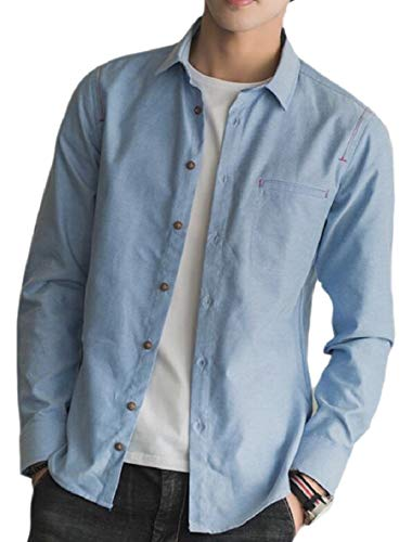 Button Down Slim Light s AU Shirts Dress Blue QianQian Business Men Long Sleeve f06wqUw