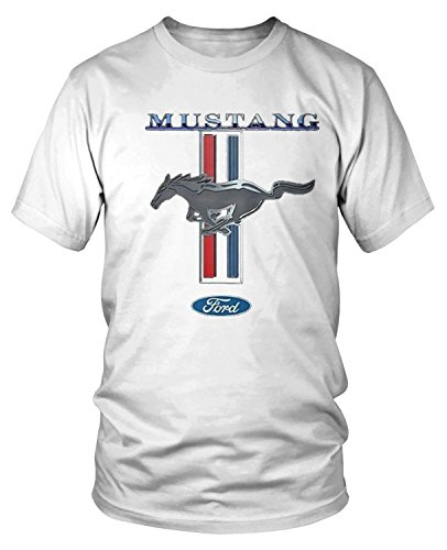 Amdesco Men's Officially Licensed Ford Mustang Pony Emblem T-Shirt, White XL