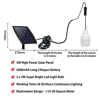 FEIFEIER Solar Light Blubs Portable 200LM Solar Shed Light , Solar Energy Lamp Lighting for Home Fishing Camping Emergency Tent Barn Chicken Coop (2Pcs 3W Led Bulbs): Home Improvement