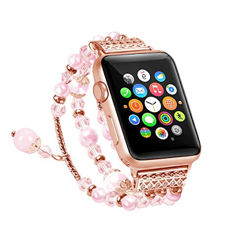 MULTAICH Bracelet Compatible for Apple Watch Band 42mm 44mm,Fashion Jewelry Elastic Stretch Faux Agate Beads Strap Replacement Women Girls iWatch Series 4/3/2/1