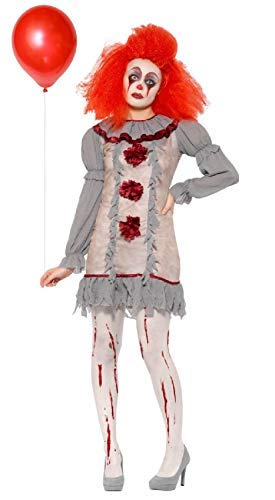 Ladies Vintage Grey Horror Creepy Scary Killer Clown Circus Carnival Book Film Halloween Fancy Dress Costume Outfit UK 8-18 (UK 16-18)