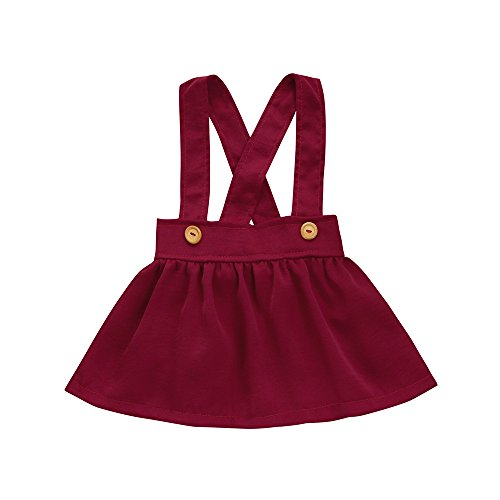 FEITONG Toddler Kids Baby Girls Solid Overalls Dresses(6-12M,Red)