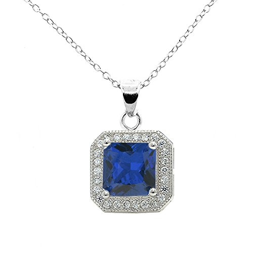 Cate & Chloe Londyn 18k White Gold Princess Gemstone CZ Halo Pendant Necklace - Silver Halo Cluster Necklace w/Solitaire Round Cut Gemstone - Wedding Anniversary Jewelry - MSRP - $150
