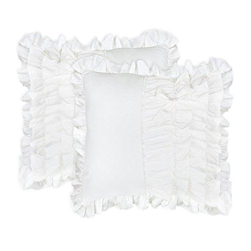 TEALP Ruffle Euro Sham Cotton Pillow Shams 26x26 Set of 2,Euro,White