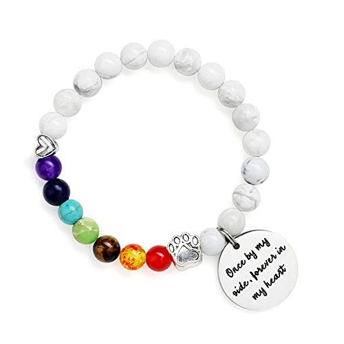 Gifts for Dog Lovers Charm Bracelet - Pet Lovers Dog Lovers Pet Memorial Gifts Loss of Pet Gifts Chakra Bracelet, Anxiety Healing Howlite Chakra Bracelet for Women Dog Lover Gifts for Men Dog Gifts (Papillon Charm)