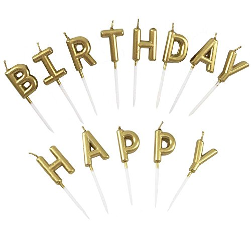 Unique Gold Birthday Letter Cake Candles - Funny Birthday Candles Letters - Birthday Candles, Happy Birthday Cake Candles for Adults / Kids