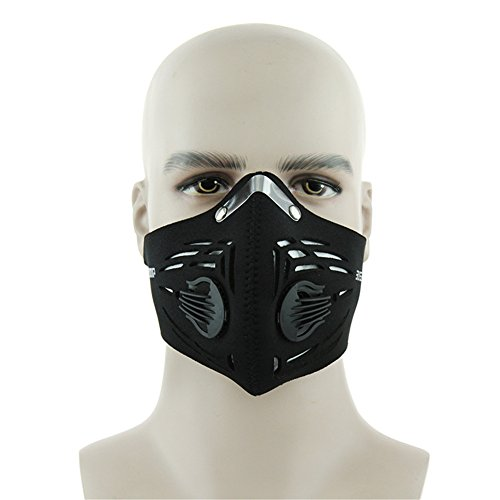 Cyrusher Base Camp Mouth-Muffle Dust Mask Activated Carbon Filter Breathable Bike Bicycle Cycling Outdoor Face Cover Protection (Mystery Black) ()