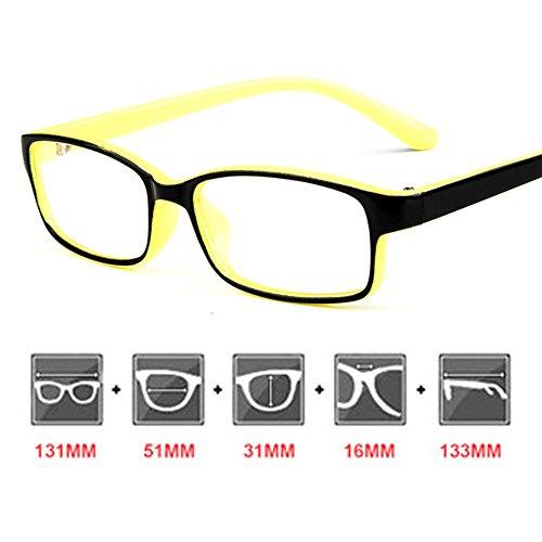 Cadre de lunettes pour enfants - Eyeglasses pour enfants Clear Lens Lunettes de lecture rétro pour filles Garçons - Juleya Jaune