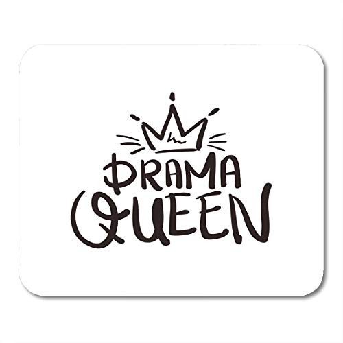 """Emvency Mouse Pads Crown Drama Queen Graphics Slogan Tee Mouse pad 9.5"""" x 7.9"""" for Notebooks,Desktop Computers Accessories Mini Office Supplies Mouse Mats"""