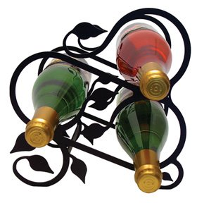 (Wrought Iron Leaf Wine Rack (3 Bottles))