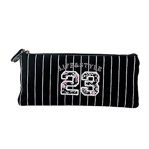 HugeStore Stripe Floral Canvas Pencil Case Bag Pen Case Bag Stationery Pouch Bag Case Cosmetic (Stripes Pouch)