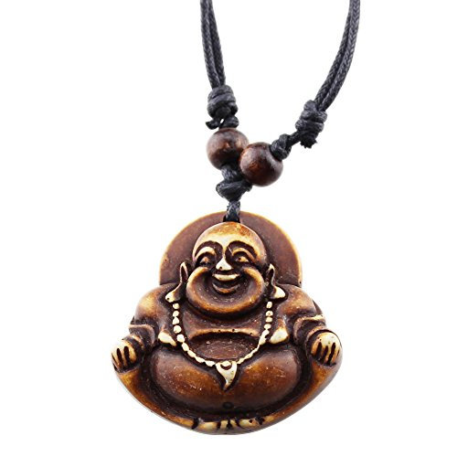 FOY-MALL Fashion Resin Laughing Buddha Pendant Adjustable Rope Necklace XL1364M