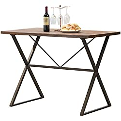 "O&K Furniture Counter Height Dining Table, 48""W Rustic Computer Table Writing Desk, Wood and Metal Pub Height Table for Home Bar and Studio Apartment, 1-PC"