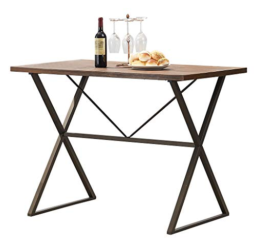 "Table Counter Frame (O&K Furniture Counter Height Dining Table, 48"" W Rustic Computer Table Writing Desk, Wood and Metal Pub Height Table for Home Bar and Studio Apartment, 1-PC)"