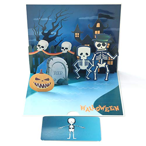 Paper Spiritz 3D Halloween Pop Up Card, Skull Scary Spooky Greeting Card, Trick or Treat, Halloween, Scary Spooky Creepy Card -
