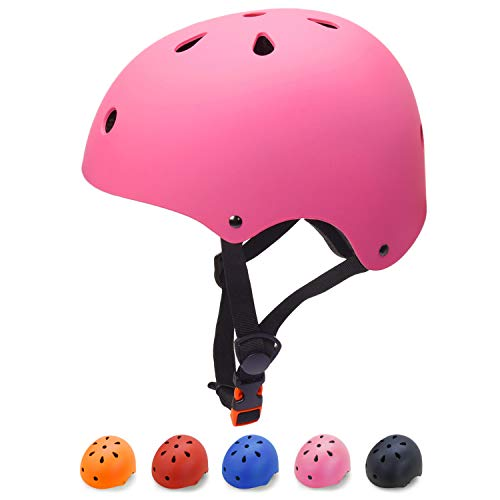 Glaf Adult Skateboard Helmet Impact Resistance Ventilation Cycling Helmet Multi-Sports Skateboarding Skating BMX Biking and Other Sports Men Women (Pink, Large)