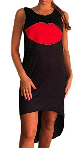 Vestito Cruiize Nero Maniche Stampa Elegante Sexy Womens Labbra Irregolare dXSwxOqO