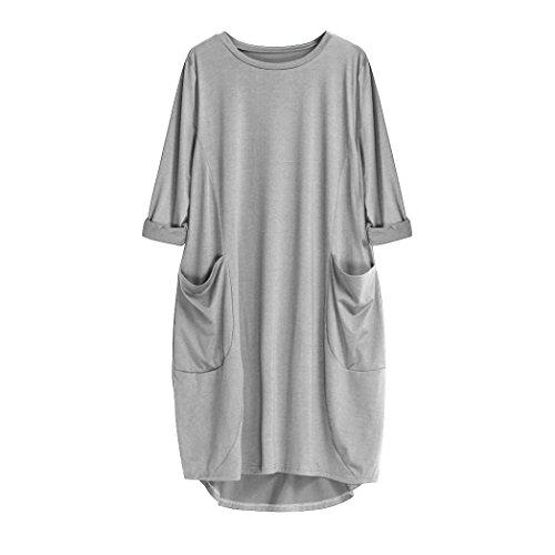 ZIYOU Kleider Damen Frauen Casual Plus Große Tasche Knielang Kleid Beiläufige Rundhals Langarm Tops Kleid Volltonfarbe Kleidung Grau
