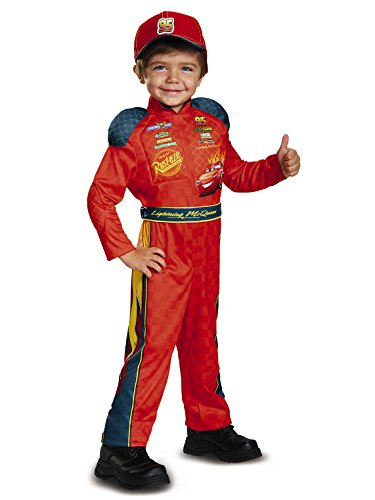 Cars 3 Lightning Mcqueen Classic Toddler Costume, Red, Medium (3T-4T)]()