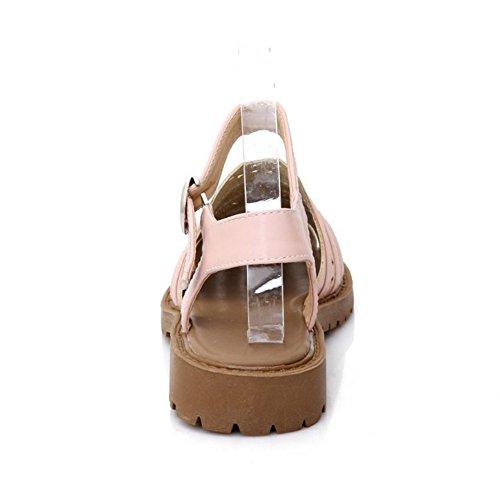 LongFengMa Women's Classic Gladiator Flats Sandals Closed Toe Pink A42IP04YgA