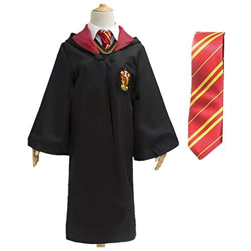 (Halloween Magic Long Robe Unisex Cosplay Costume School Uniform and Tie (Red,)