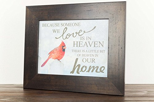 """Because Someone You Love Is In Heaven Home Red Cardinal Religious Framed Art Decor 13x16"""" (Espresso Frame)"""