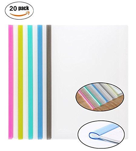 Transparent Plastic File Folder Sliding Bar Report Covers (with U-type Sliding Bar,40 sheet cap), Transparent Resume Presentation File Folders Organizer Binder For A4 Size Paper, 5 Color 20 Pieces (Binder Plastic)