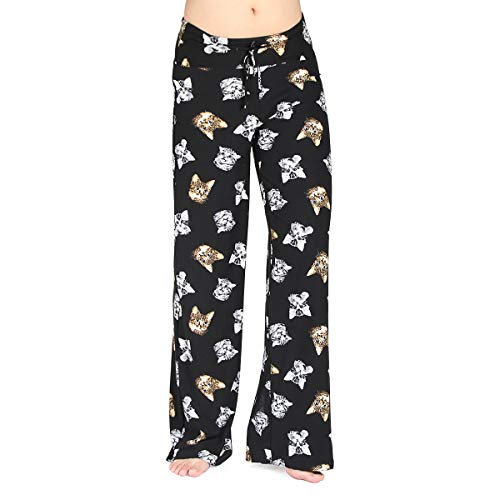 (HIGHDAYS Pajama Pants for Women Floral Print Palazzo Pants Comfy Casual Lounge Pants with Wide Leg & Drawstring (M, Black)