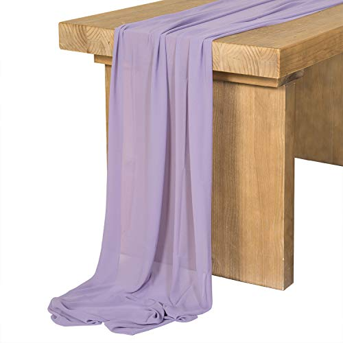 Ling's moment Sage Purple Chiffon Table Runner 27x120 Inches Sheer Table Runner Rustic French Chic Wedding Party Bridal Shower - Silky Sage
