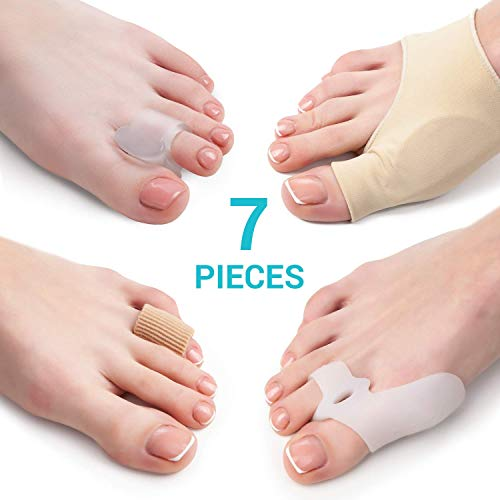 - Bunion Corrector and Bunion Relief Kit - 7 Piece Set - 2 Sleeves with Gel Pad - 2 Toes Spacers with Hallux Valgus Shield - 2 Big Toe Separators - 1 Blister and Corn Tube - Hammer Toe Straightener