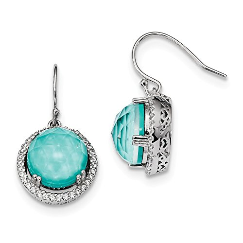 925 Sterling Silver Cubic Zirconia Cz Synthetic Blue Turquoise Drop Dangle Chandelier Earrings Fine Jewelry Gifts For Women For Her (Wallet For Women Turquoise)