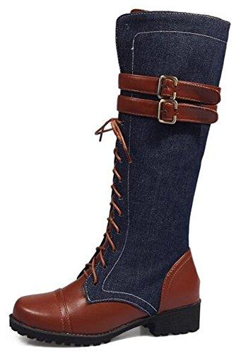 IDIFU Women's Stylish Full Zipper Buckle Knee High Riding Boots With Heels