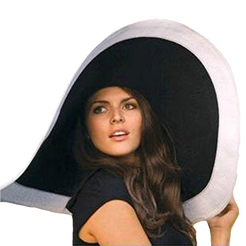 - Straw Wide Brim Hat Women Derby Hat Floppy Beach Sunhat Hbb-bk