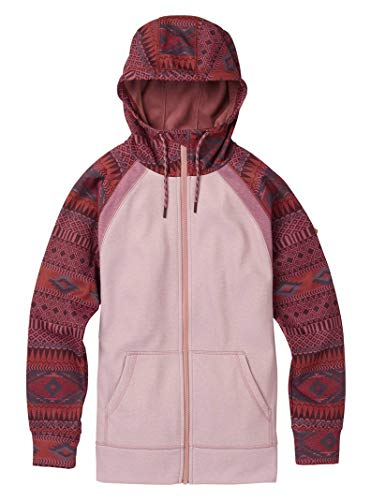 Burton Women's Crown Bonded Full-Zip Hoodie, Port Royal Freya Weave/Fawn Heather, X-Small Burton Junior Snowboard Clothing