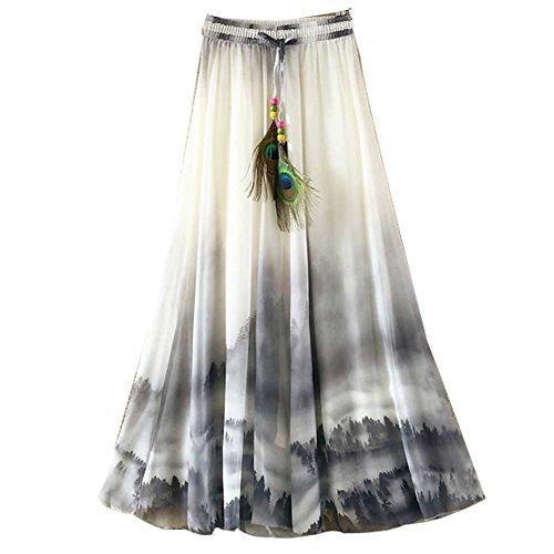 Ashir Aley Summer Floral Flowy Chiffon Long Maxi Skirt (Grey) by Ashir Aley
