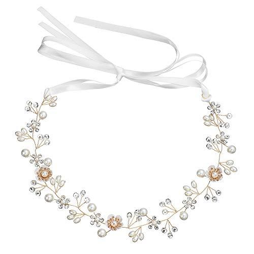 (Handmade Adjustable Girl Crystal Headband Hair Vine Pearl Beaded Hairband Alloy Craft Flowers Headdress Wedding Bridal Hair Accessories for Women Decoration Gift Gold)